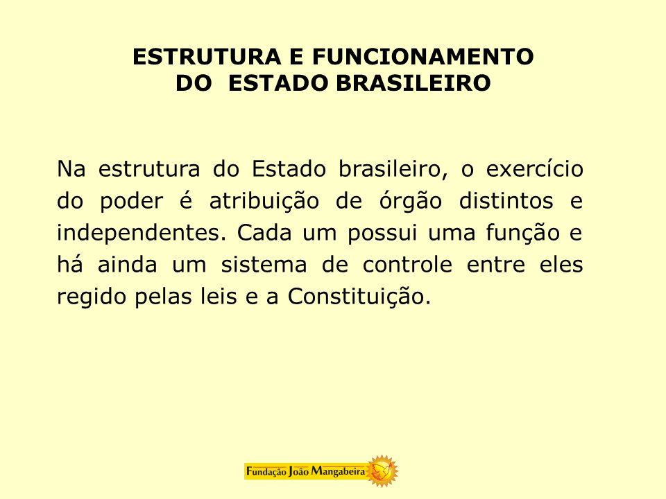 Na estrutura do Estado brasileiro, o exercício do poder é atribuição de órgão distintos e independentes. Cada um possui uma função e há ainda um siste