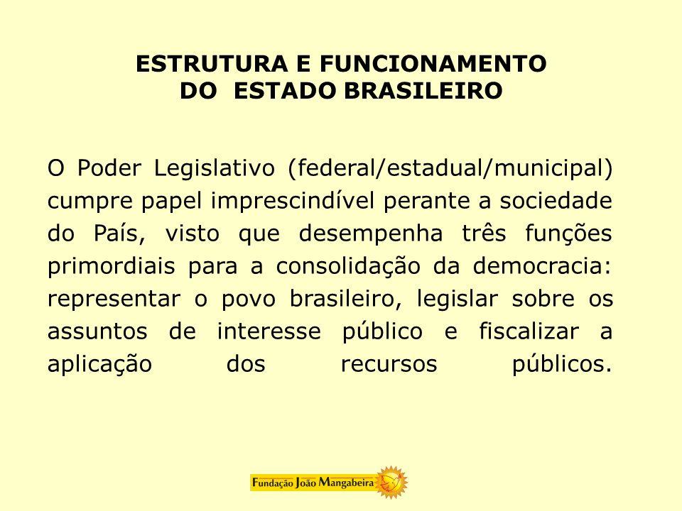 O Poder Legislativo (federal/estadual/municipal) cumpre papel imprescindível perante a sociedade do País, visto que desempenha três funções primordiai