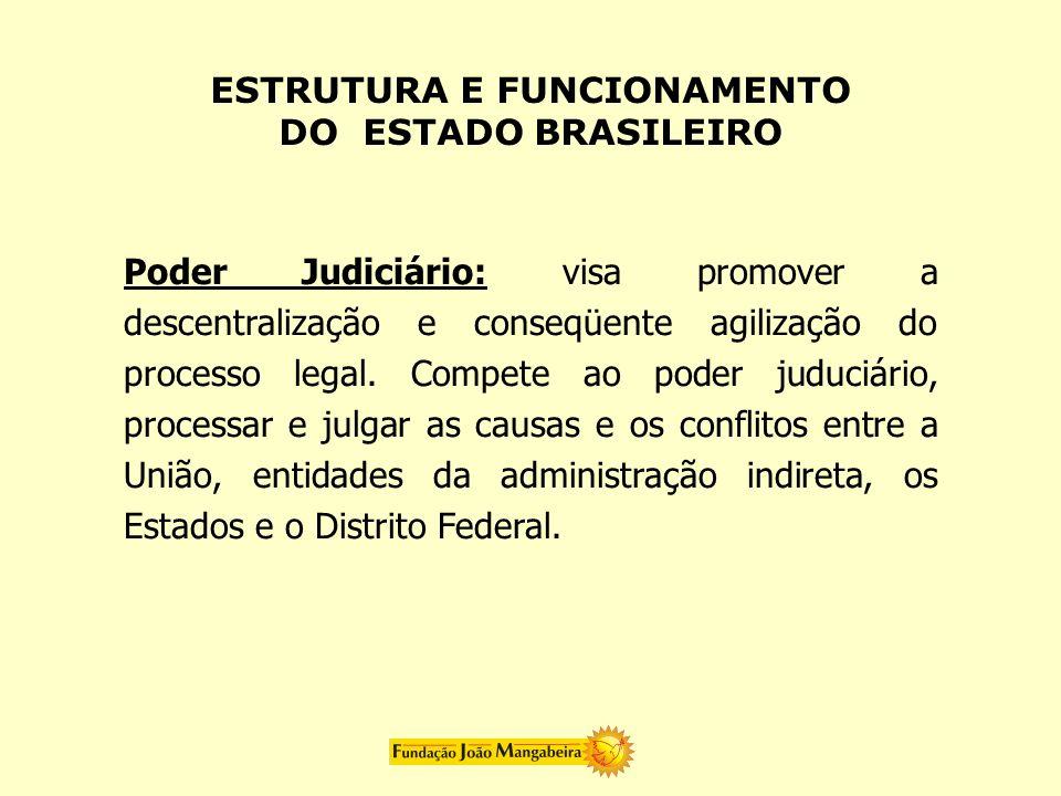 Poder Judiciário: visa promover a descentralização e conseqüente agilização do processo legal. Compete ao poder juduciário, processar e julgar as caus