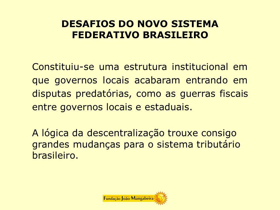 Constituiu-se uma estrutura institucional em que governos locais acabaram entrando em disputas predatórias, como as guerras fiscais entre governos loc
