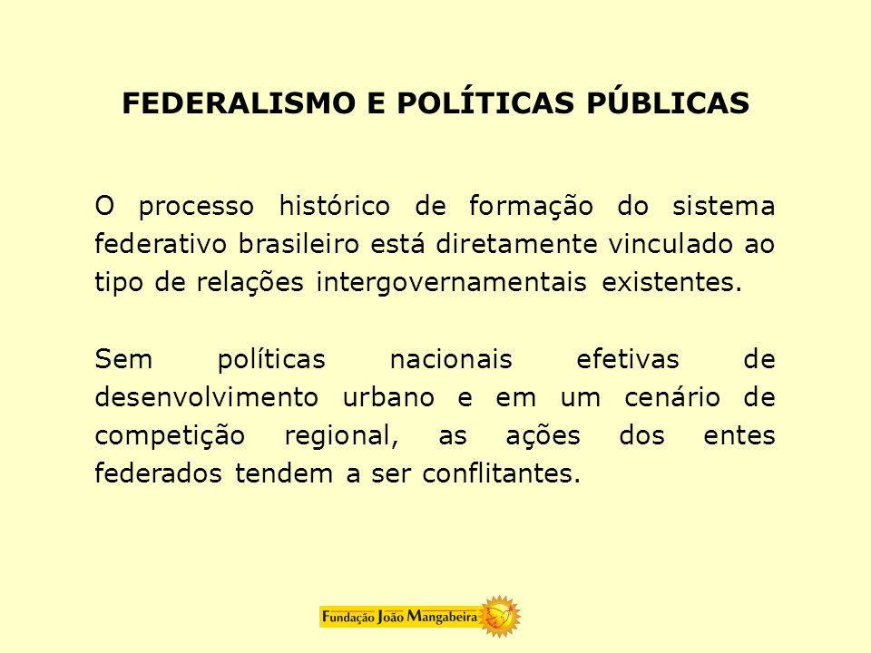 O processo histórico de formação do sistema federativo brasileiro está diretamente vinculado ao tipo de relações intergovernamentais existentes. Sem p