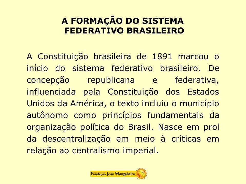 A Constituição brasileira de 1891 marcou o início do sistema federativo brasileiro. De concepção republicana e federativa, influenciada pela Constitui