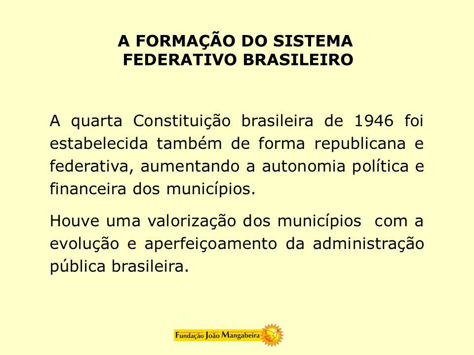 A quarta Constituição brasileira de 1946 foi estabelecida também de forma republicana e federativa, aumentando a autonomia política e financeira dos m