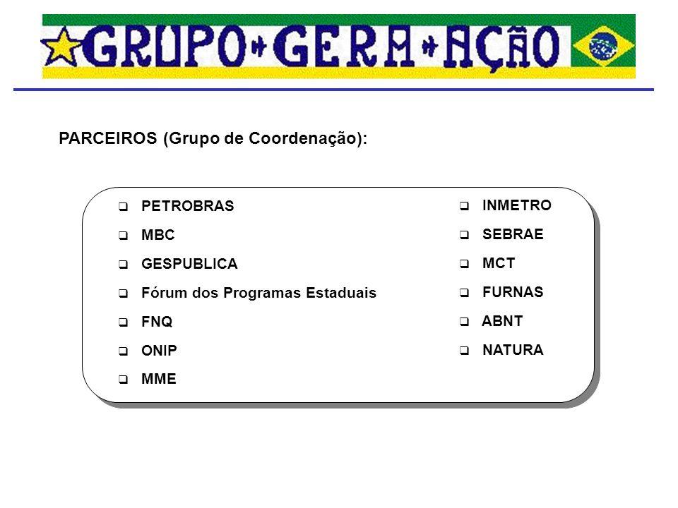 PARCEIROS (Grupo de Coordenação): PETROBRAS MBC GESPUBLICA Fórum dos Programas Estaduais FNQ ONIP MME INMETRO SEBRAE MCT FURNAS ABNT NATURA