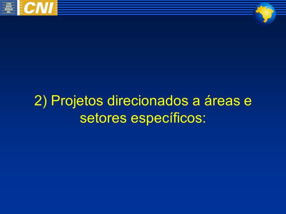 2) Projetos direcionados a áreas e setores específicos: