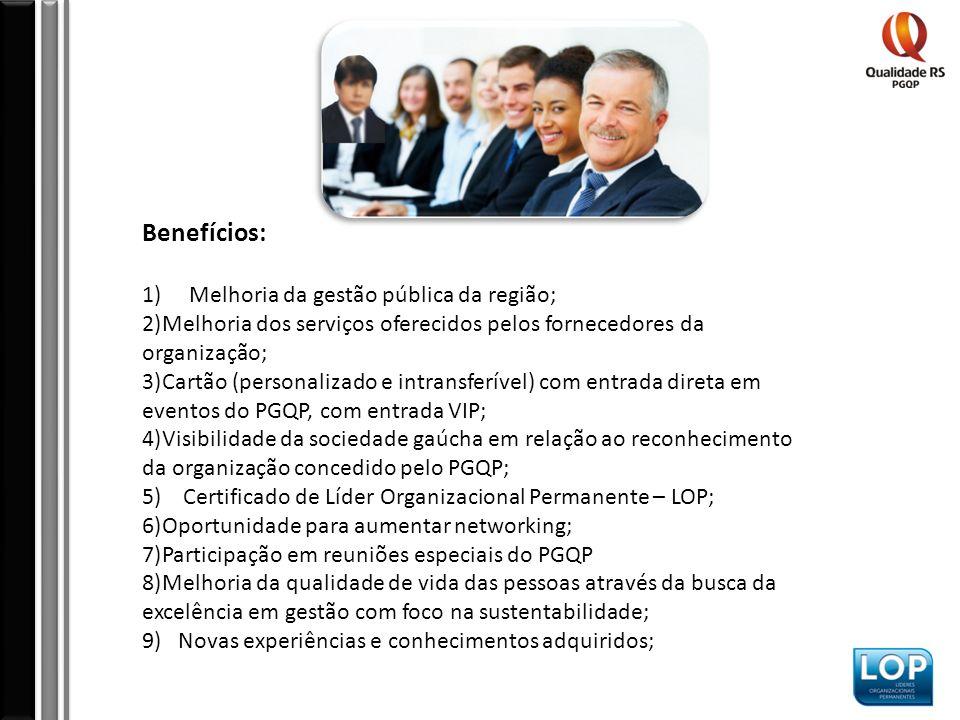 Benefícios: 1) Melhoria da gestão pública da região; 2)Melhoria dos serviços oferecidos pelos fornecedores da organização; 3)Cartão (personalizado e intransferível) com entrada direta em eventos do PGQP, com entrada VIP; 4)Visibilidade da sociedade gaúcha em relação ao reconhecimento da organização concedido pelo PGQP; 5) Certificado de Líder Organizacional Permanente – LOP; 6)Oportunidade para aumentar networking; 7)Participação em reuniões especiais do PGQP 8)Melhoria da qualidade de vida das pessoas através da busca da excelência em gestão com foco na sustentabilidade; 9) Novas experiências e conhecimentos adquiridos;
