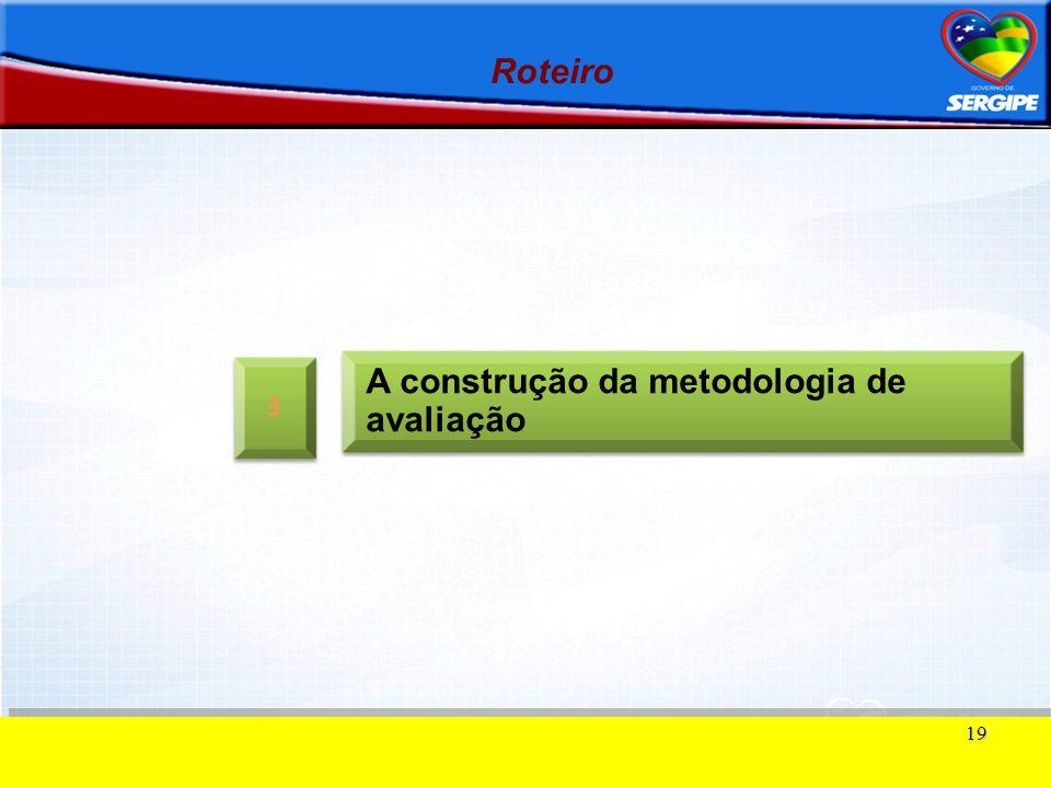 19 Roteiro A construção da metodologia de avaliação 3 3