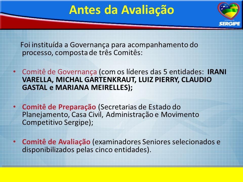 Antes da Avaliação Foi instituída a Governança para acompanhamento do processo, composta de três Comitês: Comitê de Governança (com os líderes das 5 e