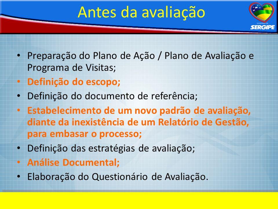 Antes da avaliação Preparação do Plano de Ação / Plano de Avaliação e Programa de Visitas; Definição do escopo; Definição do documento de referência;
