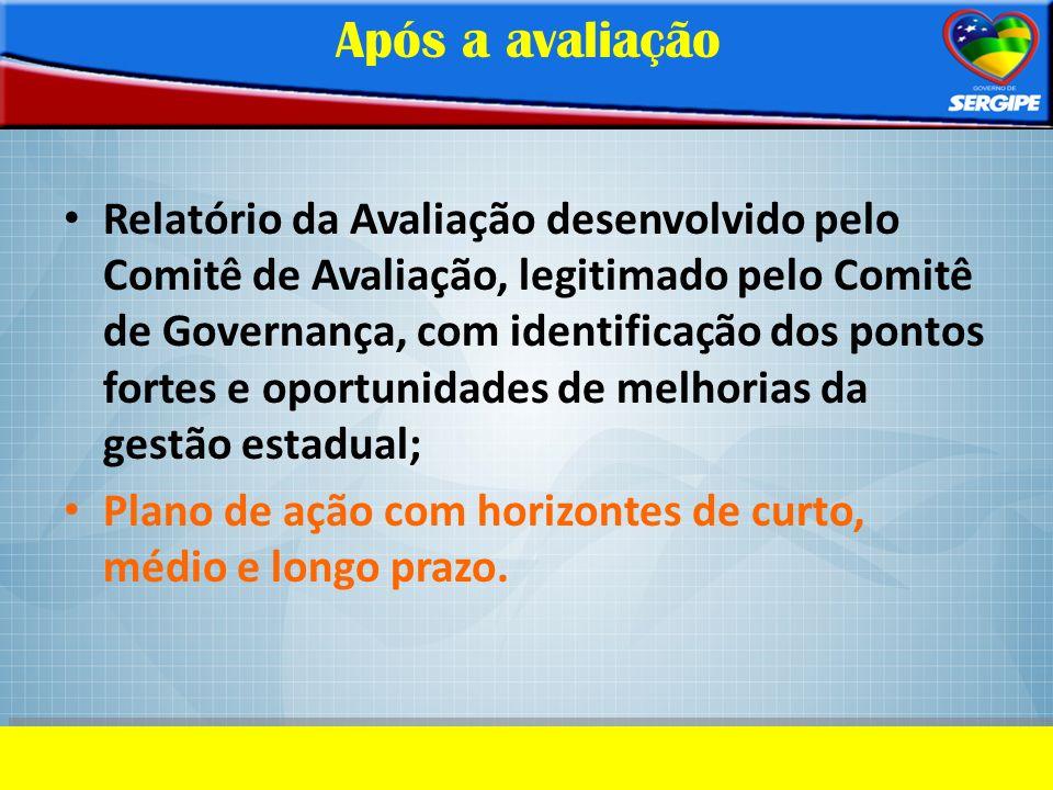 Após a avaliação Relatório da Avaliação desenvolvido pelo Comitê de Avaliação, legitimado pelo Comitê de Governança, com identificação dos pontos fort