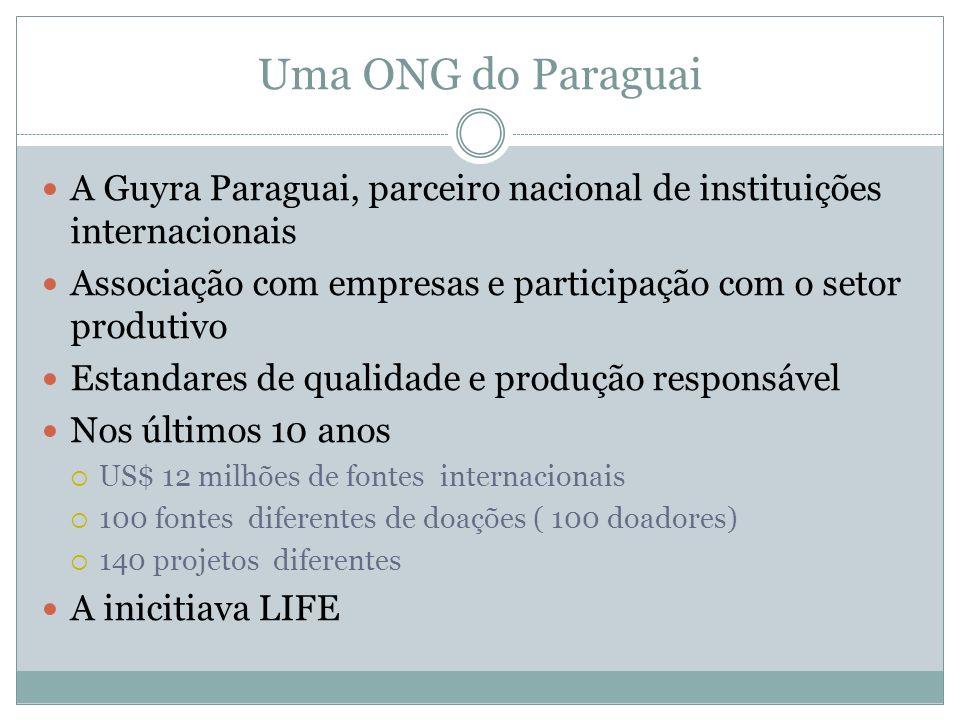 Uma ONG do Paraguai A Guyra Paraguai, parceiro nacional de instituições internacionais Associação com empresas e participação com o setor produtivo Es