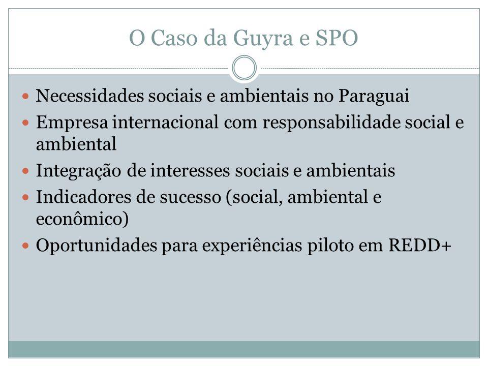 O Caso da Guyra e SPO Necessidades sociais e ambientais no Paraguai Empresa internacional com responsabilidade social e ambiental Integração de intere