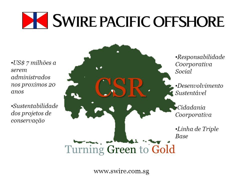 www.swire.com.sg CSR CSR Turning Green to Gold Responsabilidade C0orporativa Social Desenvolvimento Sustentável Cidadania Coorporativa Linha de Triple