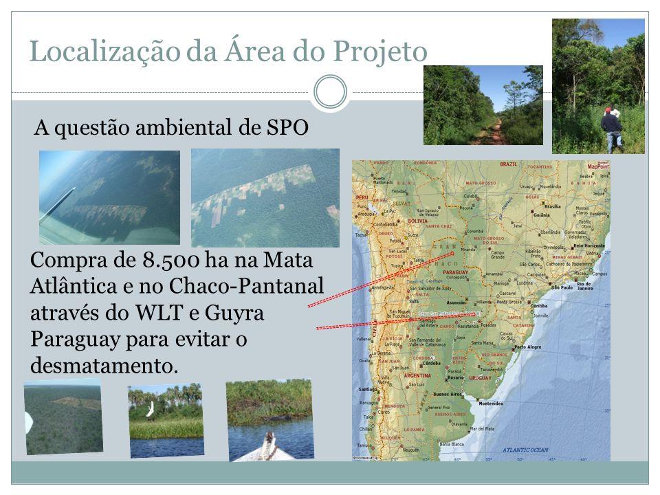 Localização da Área do Projeto A questão ambiental de SPO Compra de 8.500 ha na Mata Atlântica e no Chaco-Pantanal através do WLT e Guyra Paraguay par