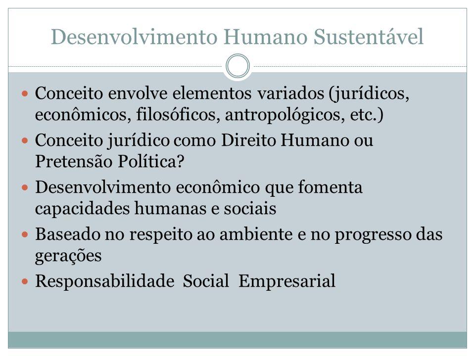 Desenvolvimento Humano Sustentável Conceito envolve elementos variados (jurídicos, econômicos, filosóficos, antropológicos, etc.) Conceito jurídico co