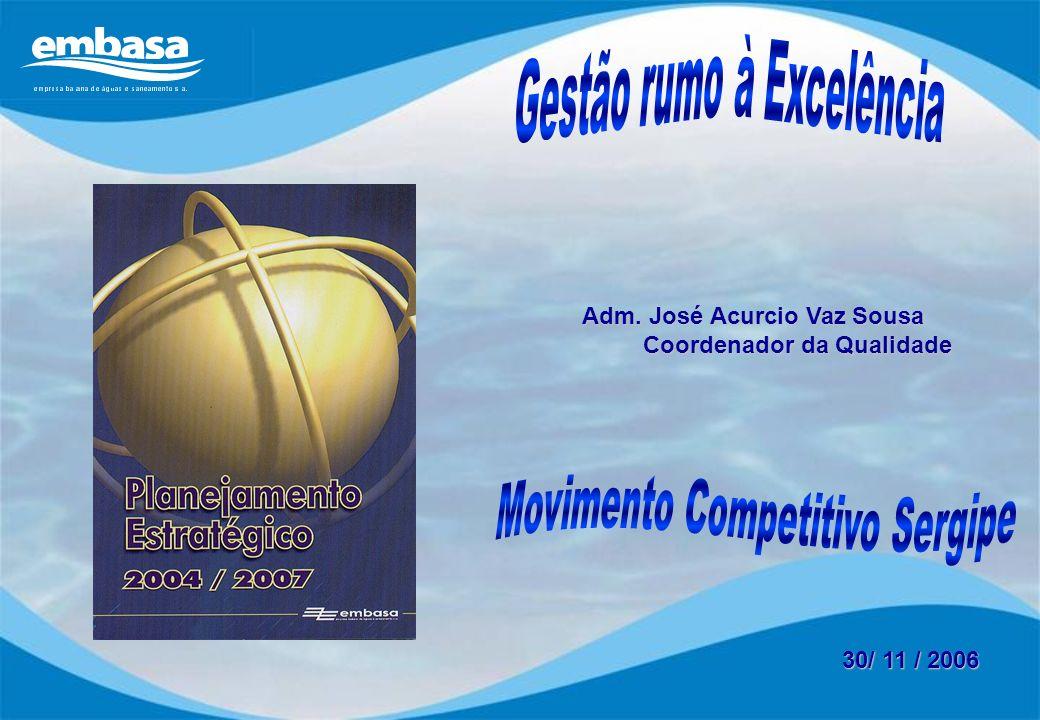 30/ 11 / 2006 Adm. José Acurcio Vaz Sousa Adm. José Acurcio Vaz Sousa Coordenador da Qualidade Coordenador da Qualidade