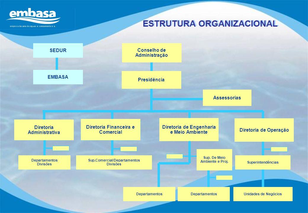 ESTRUTURA ORGANIZACIONAL Assessorias Departamentos Divisões Sup.Comercial/Departamentos Divisões Departamentos Superintendências Unidades de Negócios