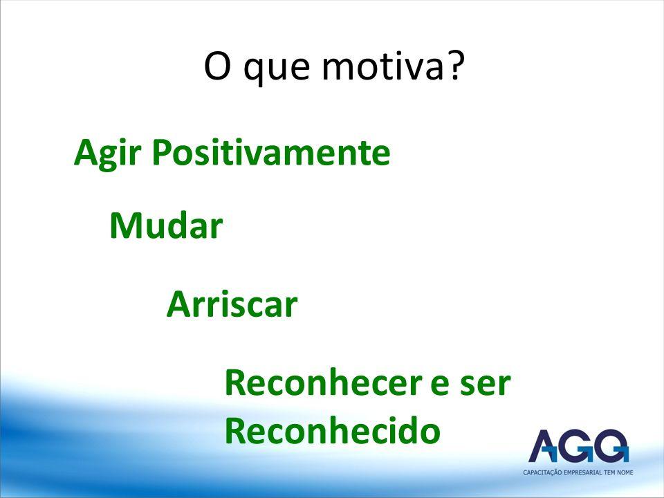 O que motiva? Agir Positivamente Mudar Arriscar Reconhecer e ser Reconhecido