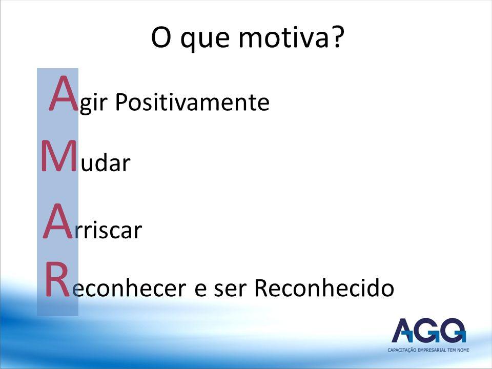 O que motiva? A gir Positivamente M udar A rriscar R econhecer e ser Reconhecido