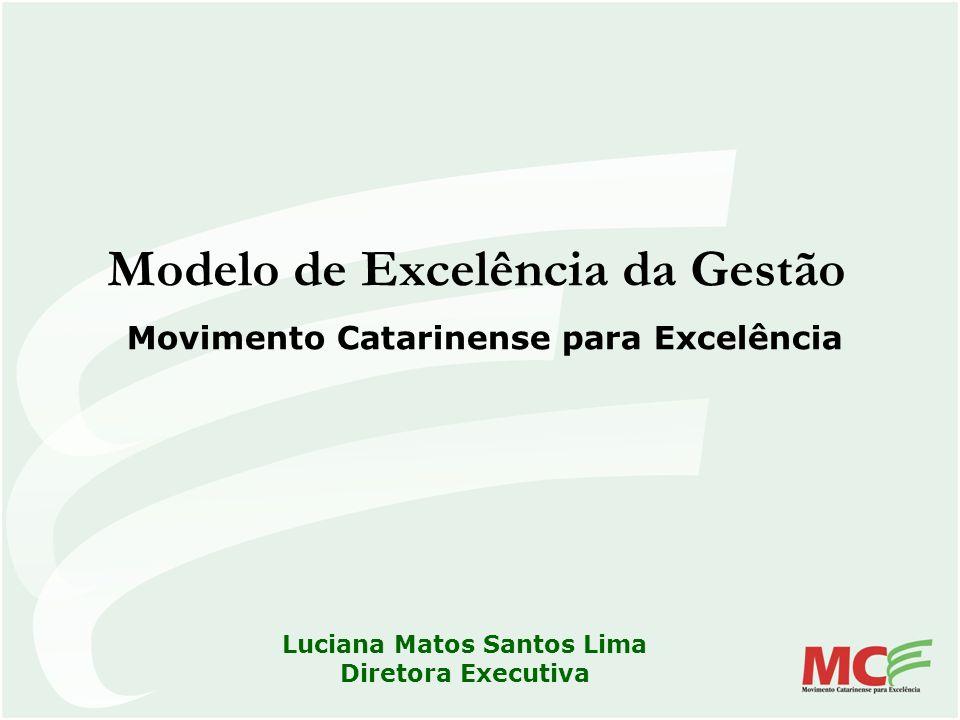 Modelo de Excelência da Gestão Movimento Catarinense para Excelência Luciana Matos Santos Lima Diretora Executiva