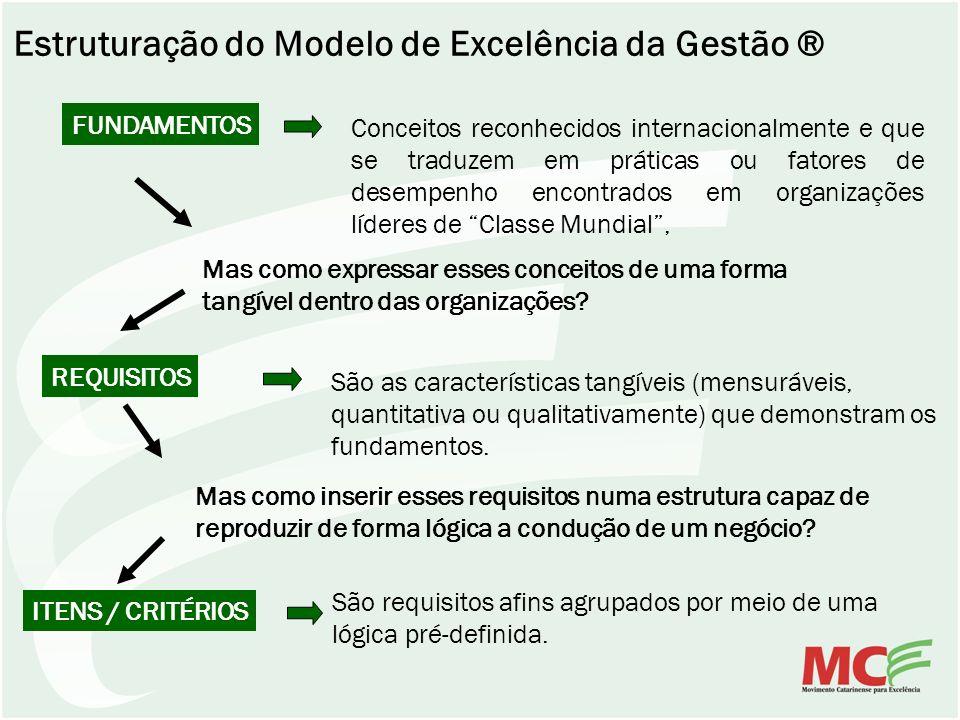 Estruturação do Modelo de Excelência da Gestão ® FUNDAMENTOS Conceitos reconhecidos internacionalmente e que se traduzem em práticas ou fatores de des