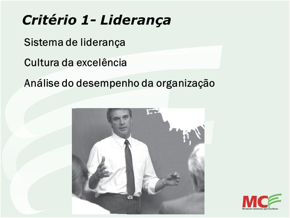 Critério 1- Liderança Sistema de liderança Cultura da excelência Análise do desempenho da organização