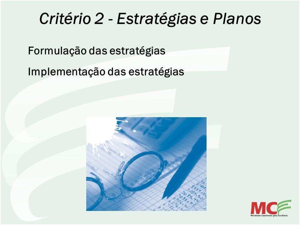 Critério 2 - Estratégias e Planos Formulação das estratégias Implementação das estratégias