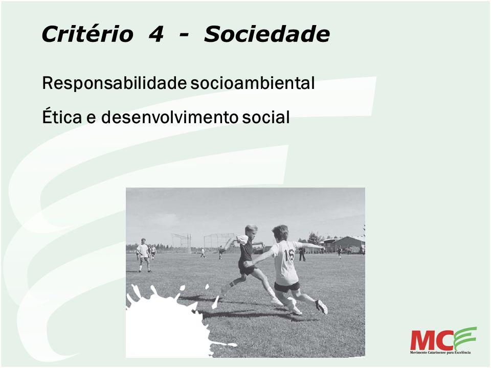 Critério 4 - Sociedade Responsabilidade socioambiental Ética e desenvolvimento social