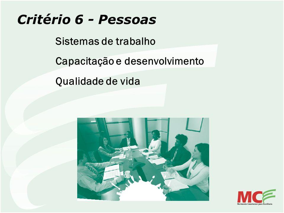 Critério 6 - Pessoas Sistemas de trabalho Capacitação e desenvolvimento Qualidade de vida