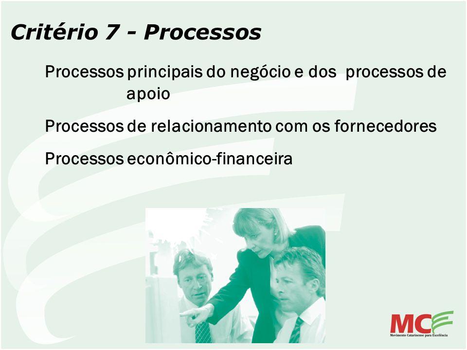 Critério 7 - Processos Processos principais do negócio e dos processos de apoio Processos de relacionamento com os fornecedores Processos econômico-fi