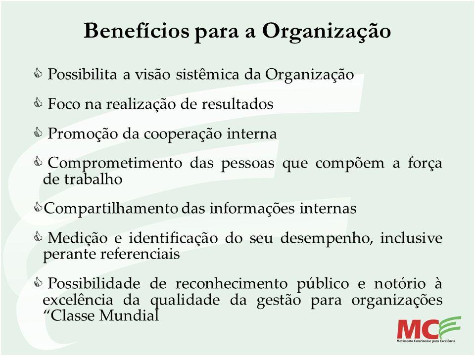 Benefícios para a Organização Possibilita a visão sistêmica da Organização Foco na realização de resultados Promoção da cooperação interna Comprometim