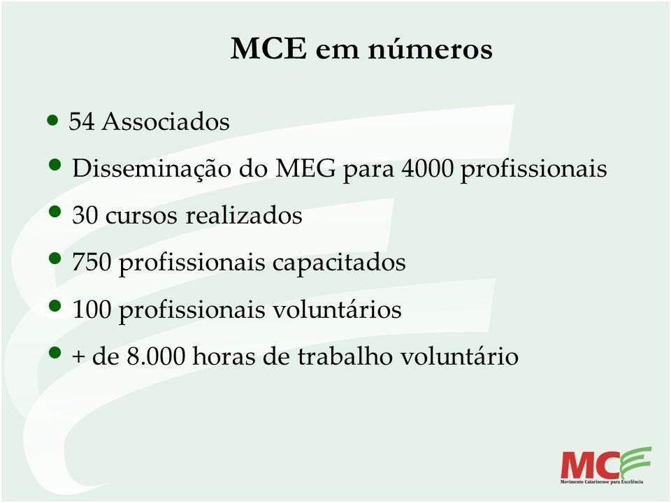MCE em números 54 Associados Disseminação do MEG para 4000 profissionais 30 cursos realizados 750 profissionais capacitados 100 profissionais voluntár