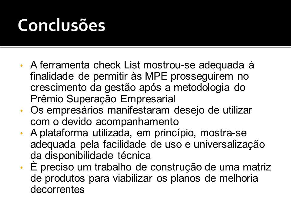 A ferramenta check List mostrou-se adequada à finalidade de permitir às MPE prosseguirem no crescimento da gestão após a metodologia do Prêmio Superaç