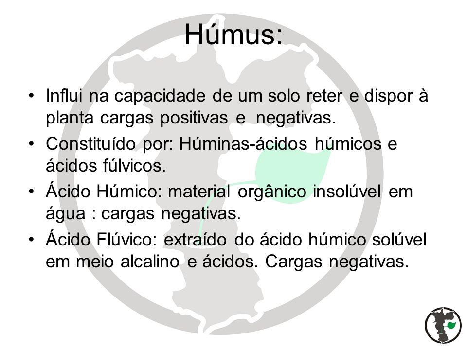 Húmus: Influi na capacidade de um solo reter e dispor à planta cargas positivas e negativas. Constituído por: Húminas-ácidos húmicos e ácidos fúlvicos
