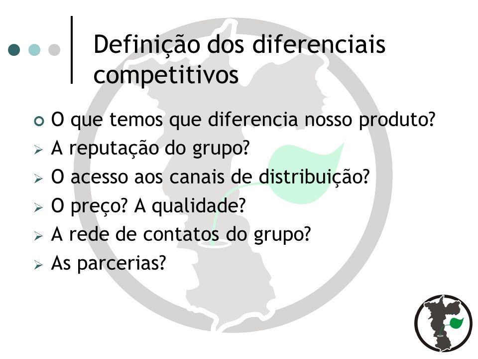 Definição dos diferenciais competitivos O que temos que diferencia nosso produto.