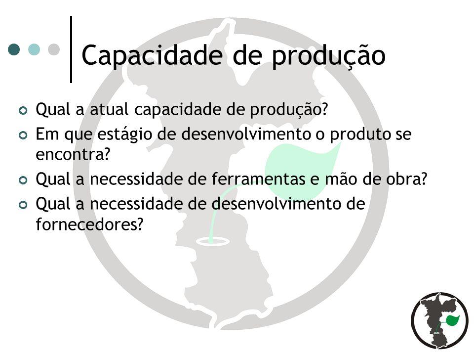 Capacidade de produção Qual a atual capacidade de produção.