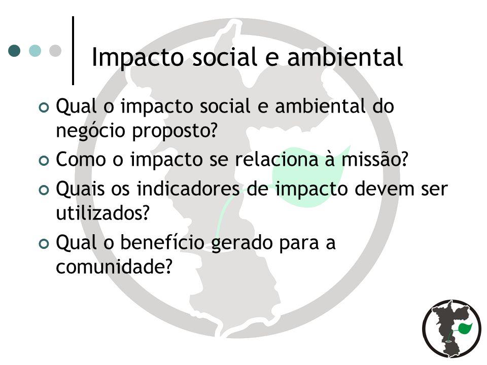 Impacto social e ambiental Qual o impacto social e ambiental do negócio proposto.