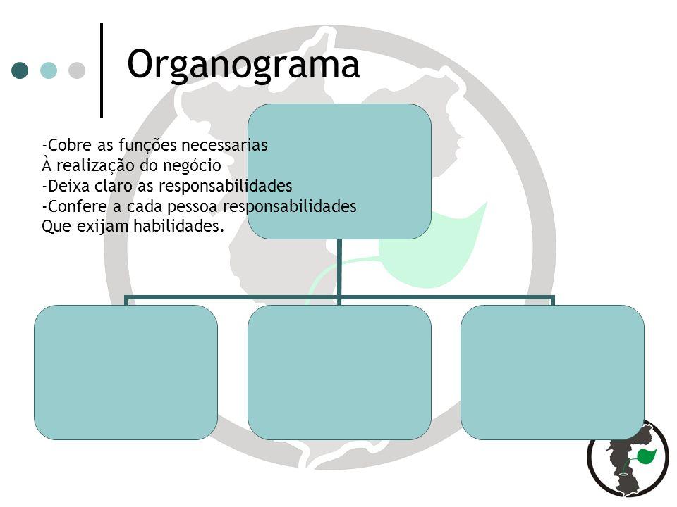 Organograma -Cobre as funções necessarias À realização do negócio -Deixa claro as responsabilidades -Confere a cada pessoa responsabilidades Que exijam habilidades.