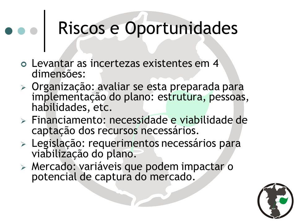 Riscos e Oportunidades Levantar as incertezas existentes em 4 dimensões: Organização: avaliar se esta preparada para implementação do plano: estrutura, pessoas, habilidades, etc.