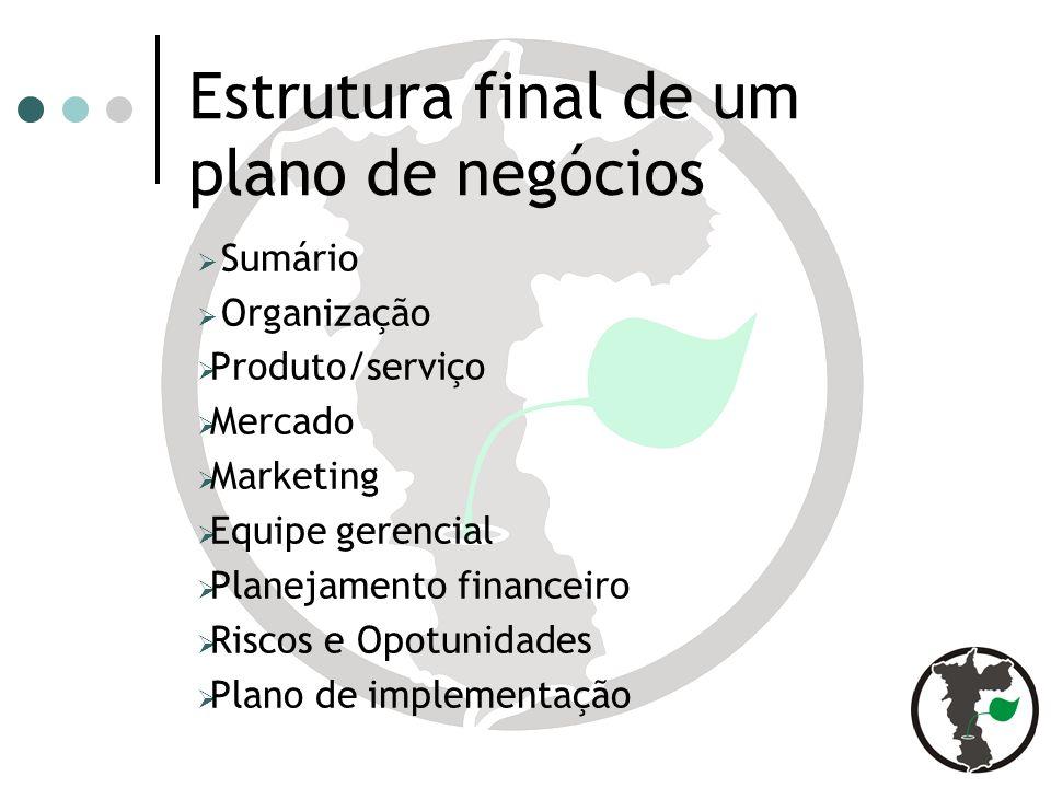 Estrutura final de um plano de negócios Sumário Organização Produto/serviço Mercado Marketing Equipe gerencial Planejamento financeiro Riscos e Opotunidades Plano de implementação