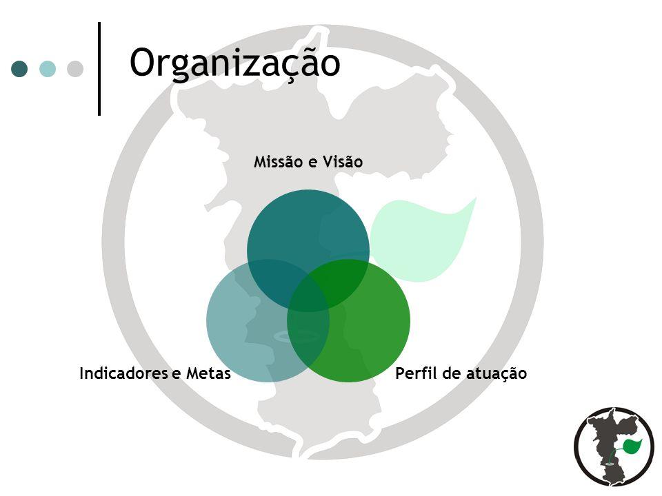 Organização Missão e Visão Perfil de atuação Indicadores e Metas