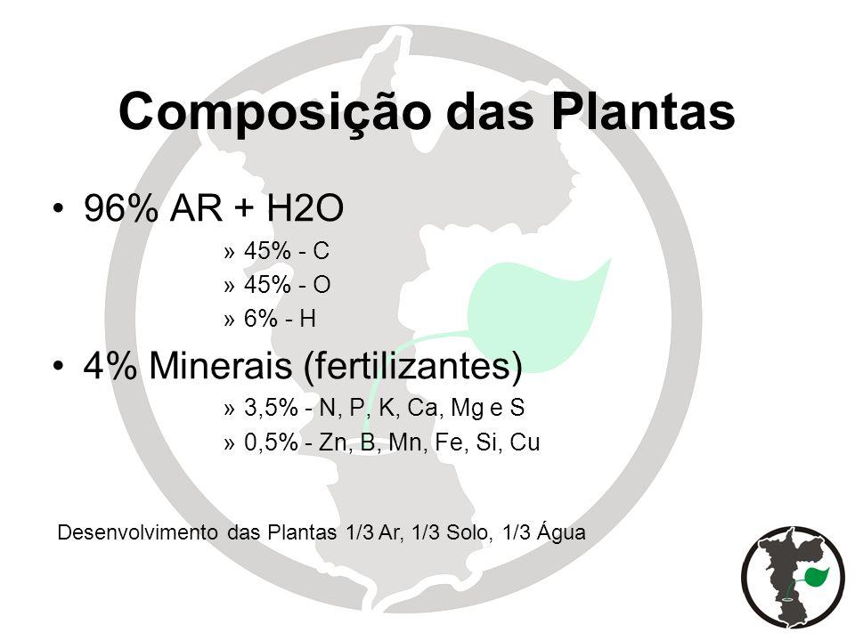 Composição das Plantas 96% AR + H2O »45% - C »45% - O »6% - H 4% Minerais (fertilizantes) »3,5% - N, P, K, Ca, Mg e S »0,5% - Zn, B, Mn, Fe, Si, Cu De