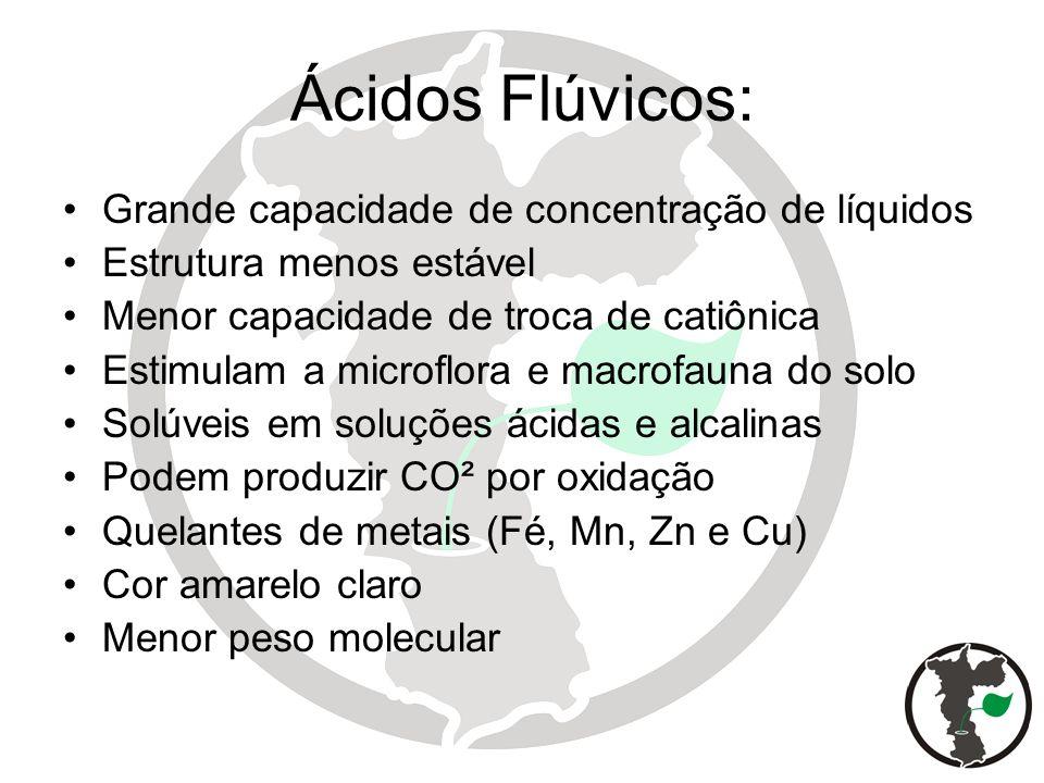 Ácidos Flúvicos: Grande capacidade de concentração de líquidos Estrutura menos estável Menor capacidade de troca de catiônica Estimulam a microflora e