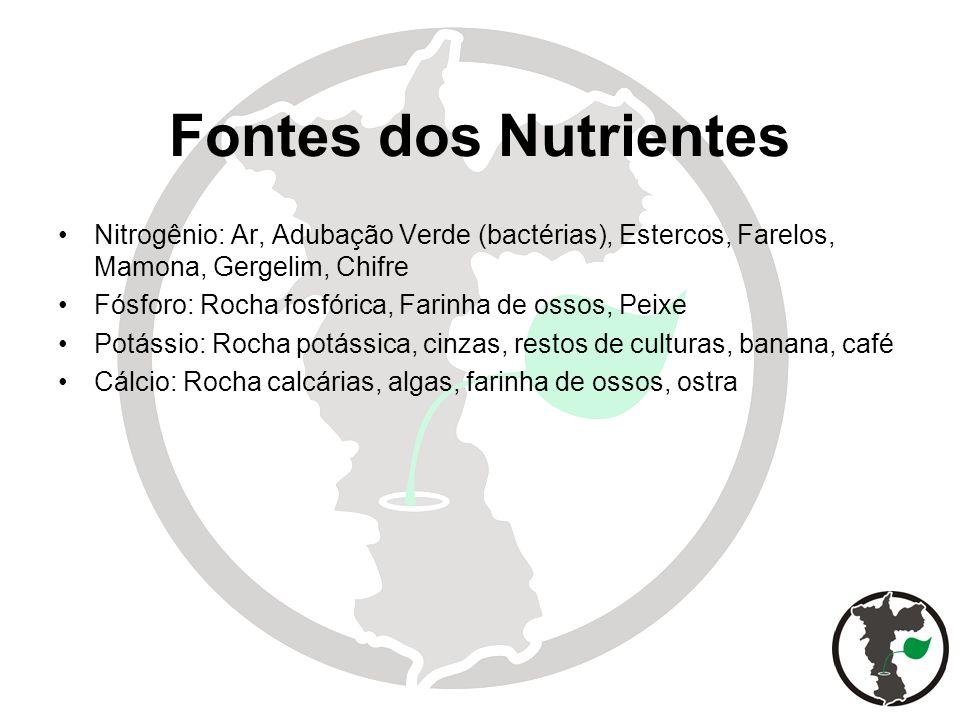 Fontes dos Nutrientes Nitrogênio: Ar, Adubação Verde (bactérias), Estercos, Farelos, Mamona, Gergelim, Chifre Fósforo: Rocha fosfórica, Farinha de oss