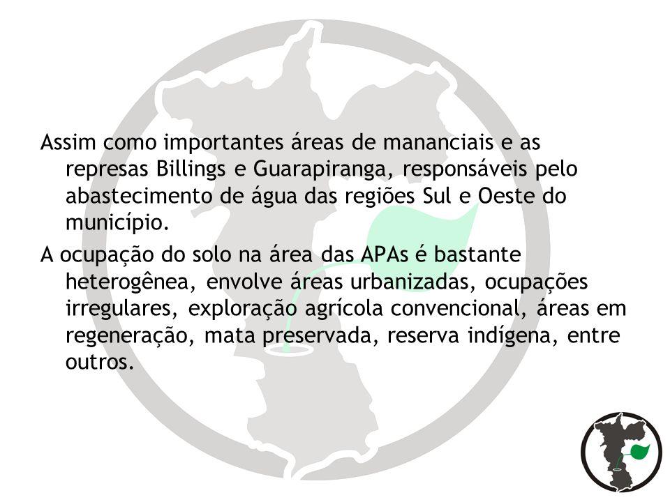 Assim como importantes áreas de mananciais e as represas Billings e Guarapiranga, responsáveis pelo abastecimento de água das regiões Sul e Oeste do m