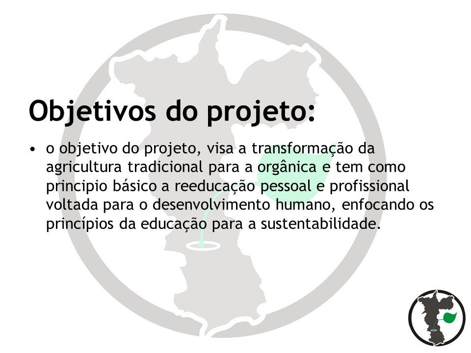 Objetivos do projeto: o objetivo do projeto, visa a transformação da agricultura tradicional para a orgânica e tem como principio básico a reeducação