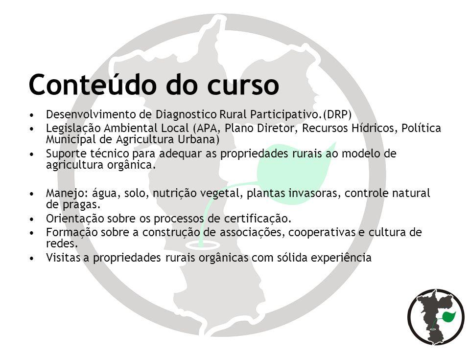 Conteúdo do curso Desenvolvimento de Diagnostico Rural Participativo.(DRP) Legislação Ambiental Local (APA, Plano Diretor, Recursos Hídricos, Política