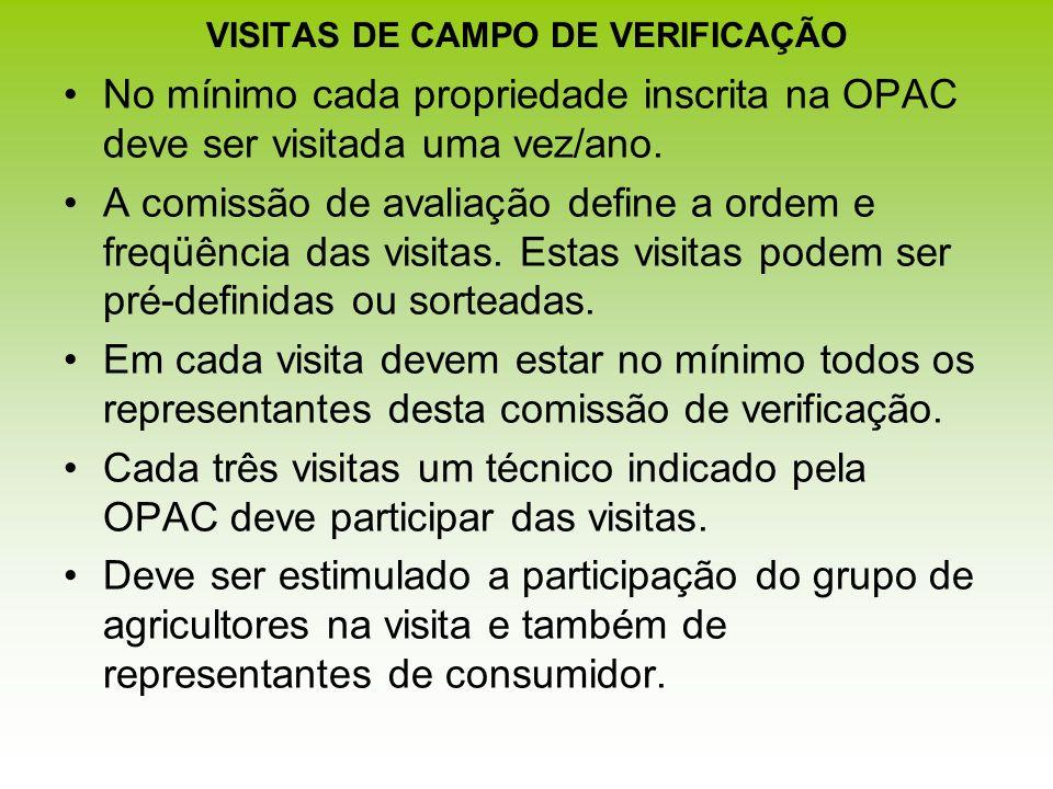 VISITAS DE CAMPO DE VERIFICAÇÃO No mínimo cada propriedade inscrita na OPAC deve ser visitada uma vez/ano. A comissão de avaliação define a ordem e fr
