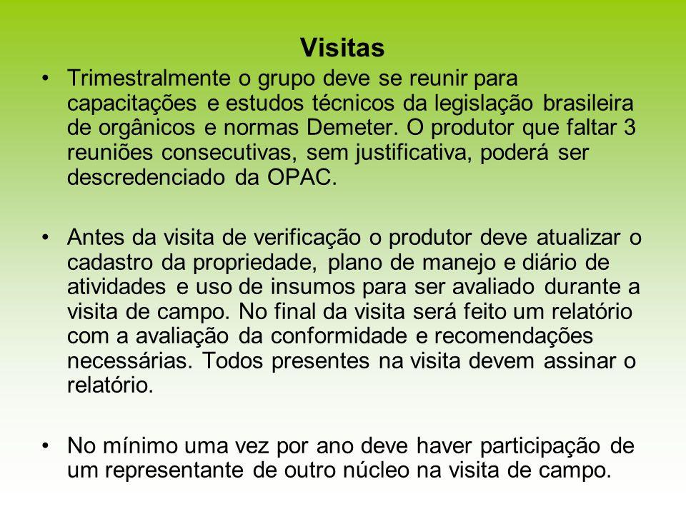 Visitas Trimestralmente o grupo deve se reunir para capacitações e estudos técnicos da legislação brasileira de orgânicos e normas Demeter. O produtor