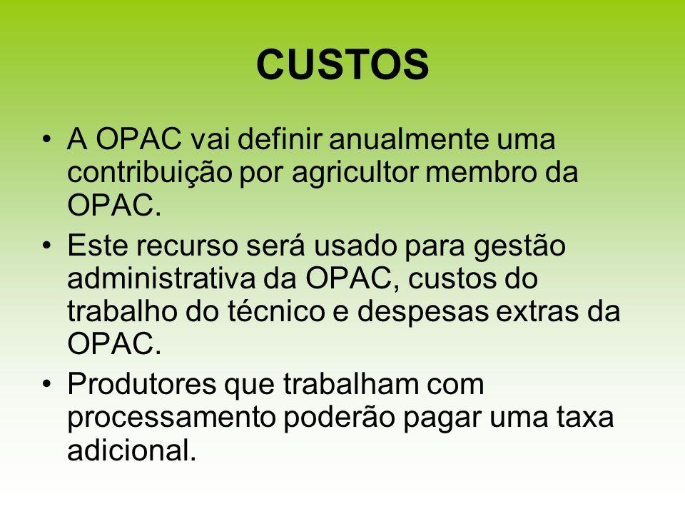 CUSTOS A OPAC vai definir anualmente uma contribuição por agricultor membro da OPAC. Este recurso será usado para gestão administrativa da OPAC, custo
